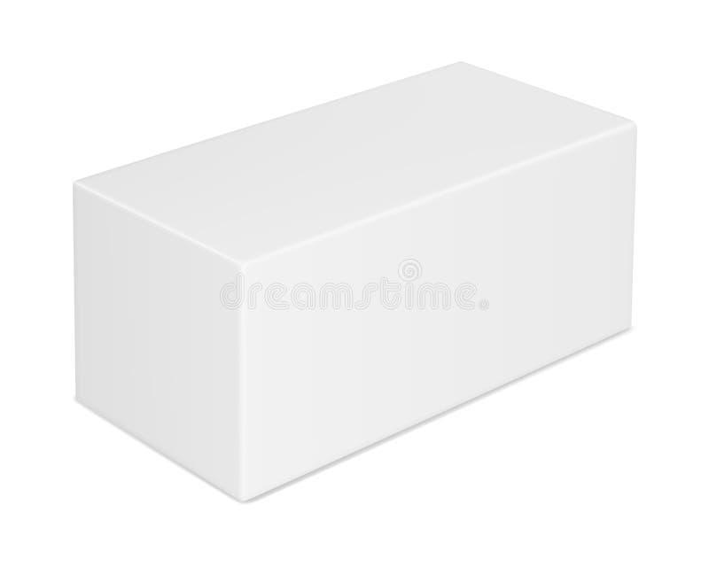 Wektorowy realistyczny wizerunek zamknięty prostokątny papierowy pudełko ilustracji