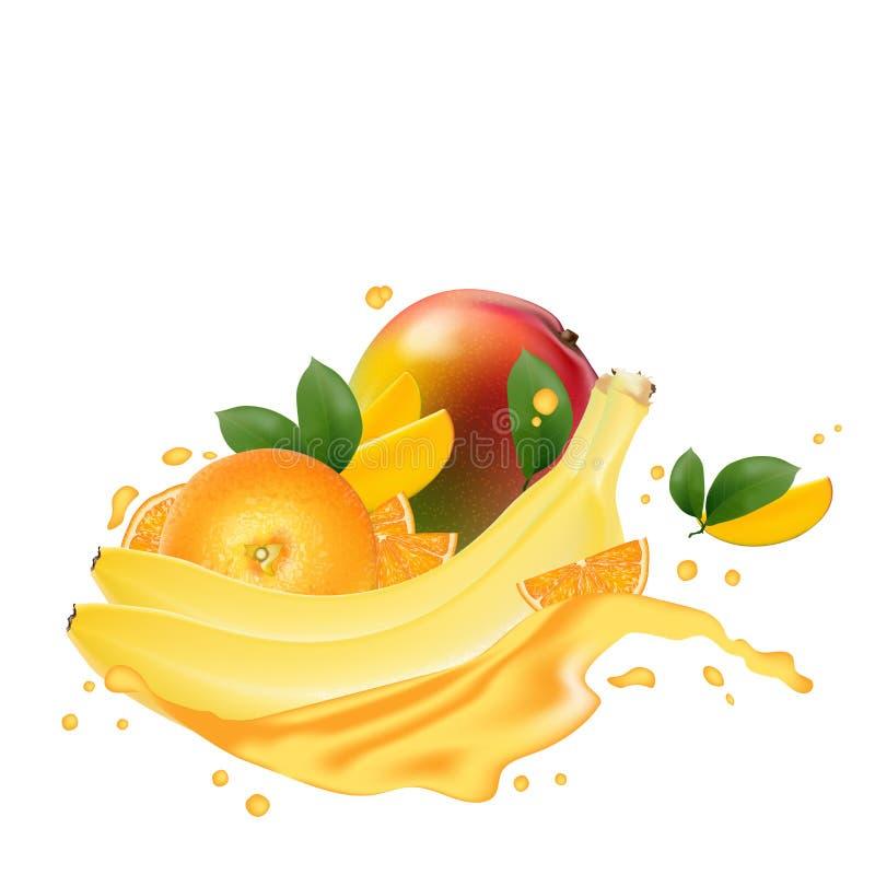 Wektorowy reklam 3d promocyjny sztandar, Realistyczny mango, banan, pomarańcze royalty ilustracja