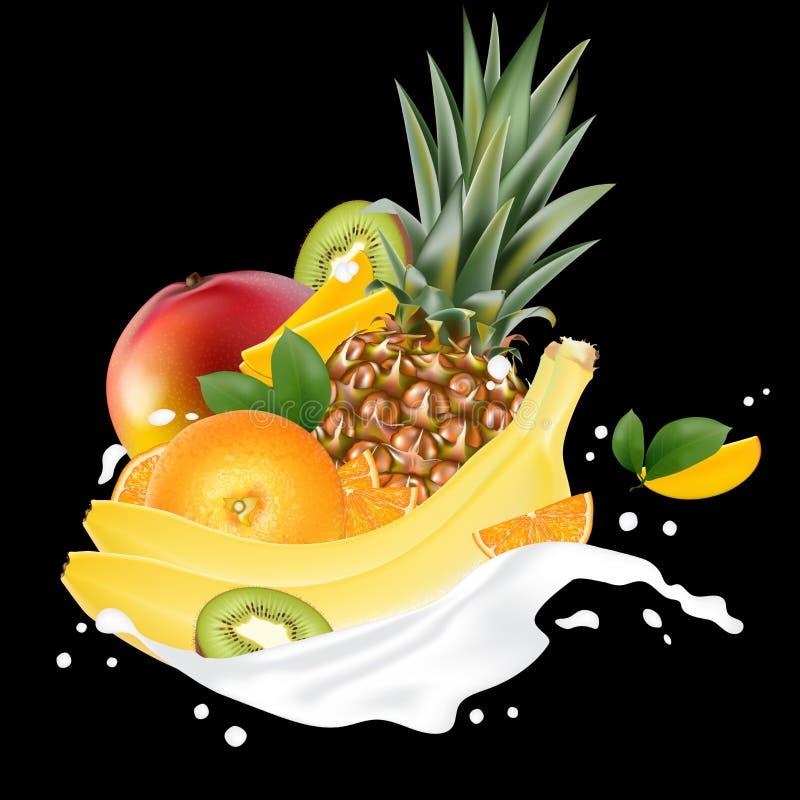 Wektorowy reklam 3d promocyjny sztandar, Realistyczny mango, brzoskwinia, cytryna, o ilustracji