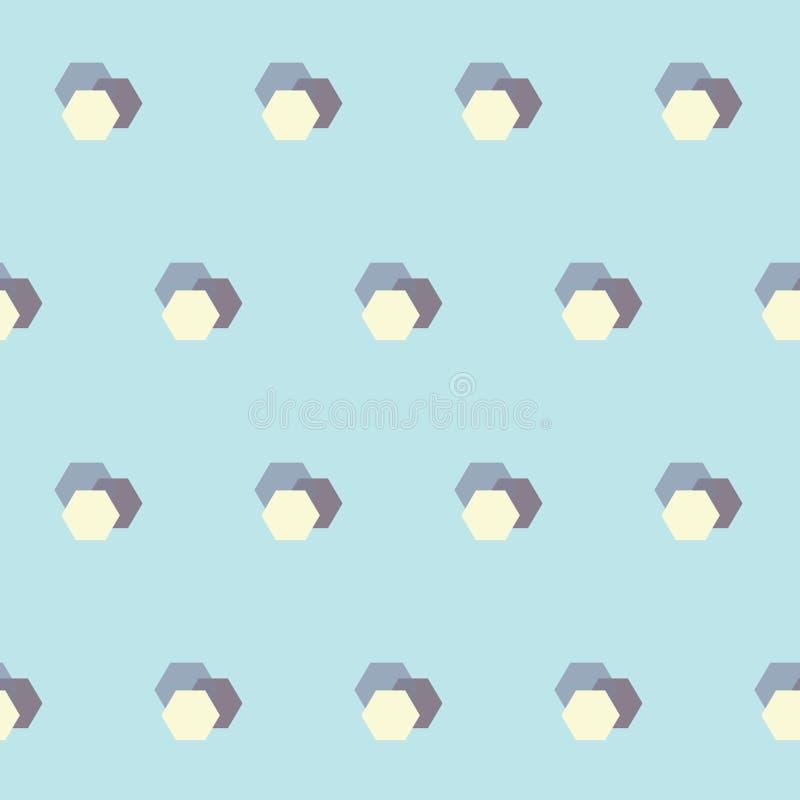 Wektorowy Retro Abstrakcjonistyczny HoneyComb Kształtuje na Prochowego błękita bezszwowym deseniowym tle ilustracja wektor