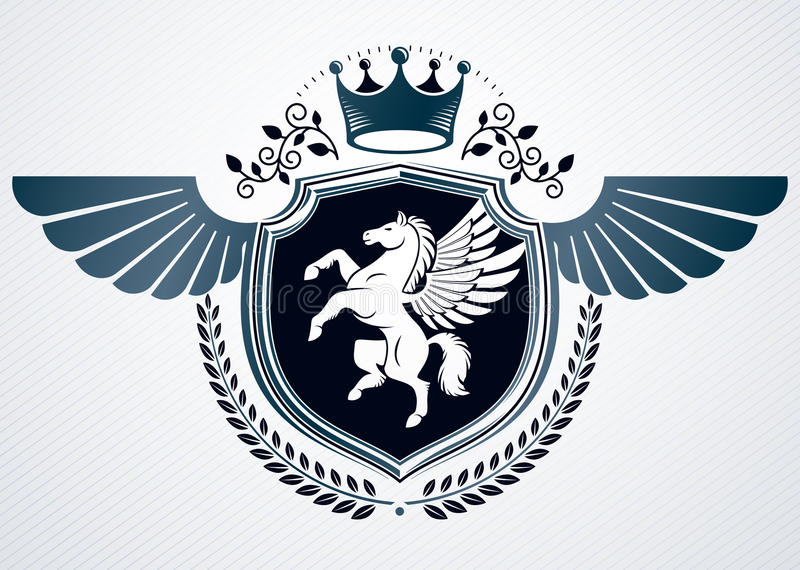 Wektorowy retro insygnia projekt dekorował używać roczników elementów li royalty ilustracja