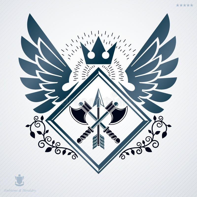 Wektorowy retro insygnia projekt dekorował z skrzydłami i zrobił używać royalty ilustracja