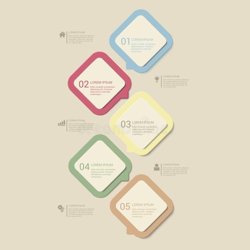 Wektorowy retro półmroku proces kroczy infographics szablonu tło royalty ilustracja