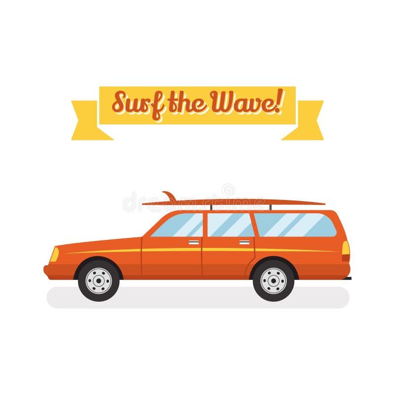 Wektorowy retro płaski sieć sztandaru projekt na surfingu, najlepszy wakacje, plażowy odtwarzanie, wodne aktywność dla podróży royalty ilustracja