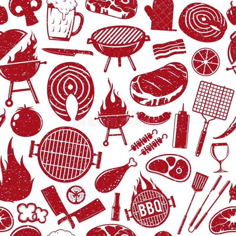 Wektorowy retro projektujący grill ikon bezszwowy wzór lub backgroun ilustracji