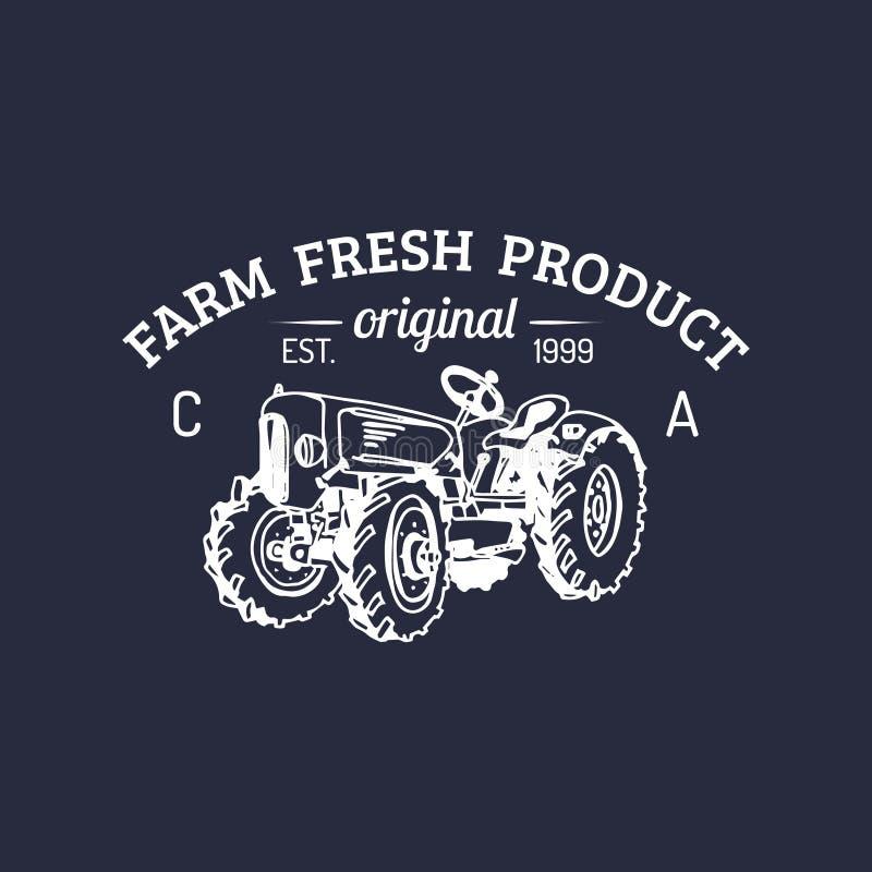 Wektorowy retro rodziny gospodarstwa rolnego logotyp Organicznie premii ilości produktów logo Rocznik ręka kreślił ciągnikową iko ilustracja wektor