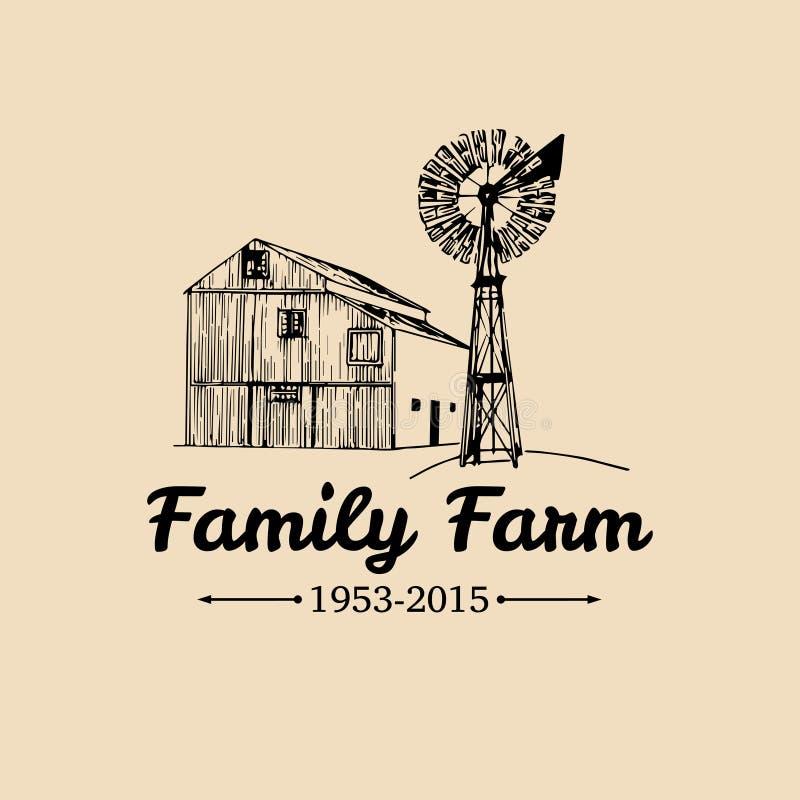 Wektorowy retro rodziny gospodarstwa rolnego logotyp Organicznie premii ilości produkty plakatowi Rocznik ręka kreślił stajni i w ilustracji