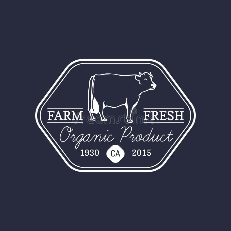 Wektorowy retro rolny świeży logotyp Organicznie premii ilości produktów odznaka Eco jedzenia znak Rocznik ręka kreślił krowy iko ilustracji