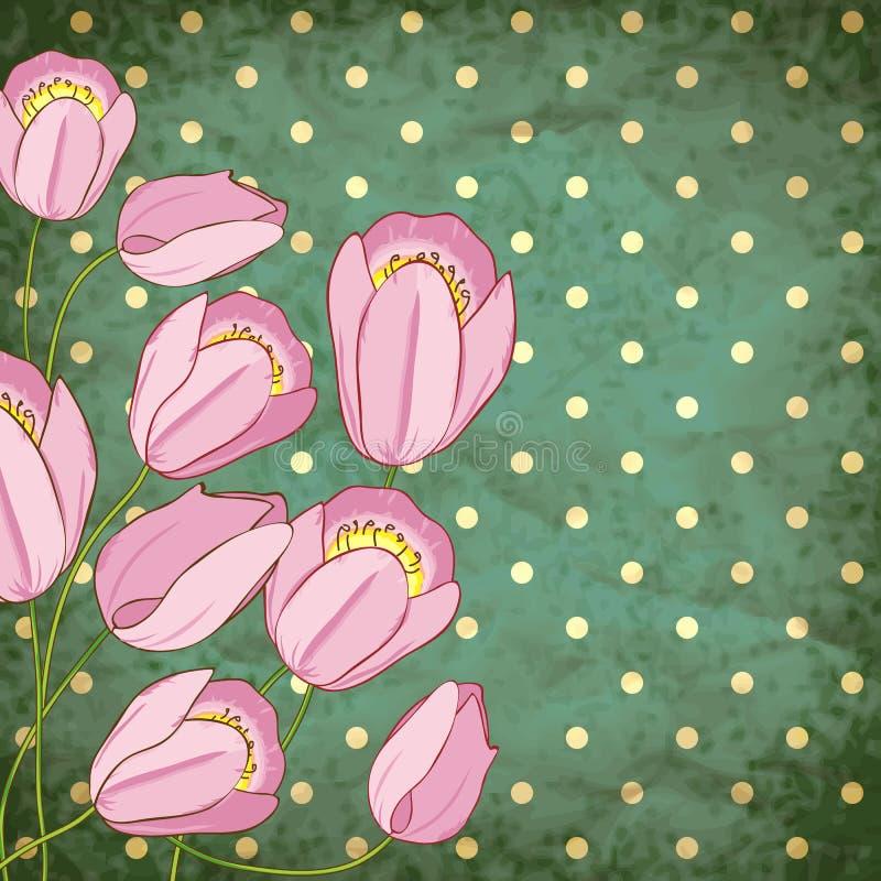 Wektorowy retro tło z różowymi tulipanami royalty ilustracja