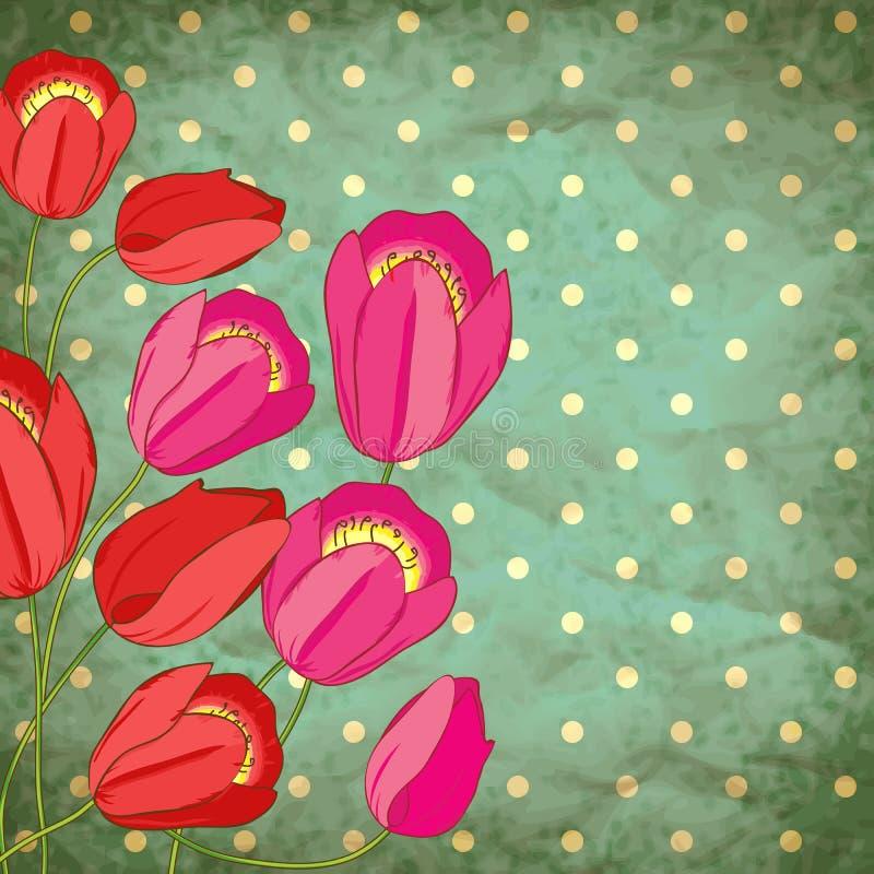 Wektorowy retro tło z tulipanami royalty ilustracja