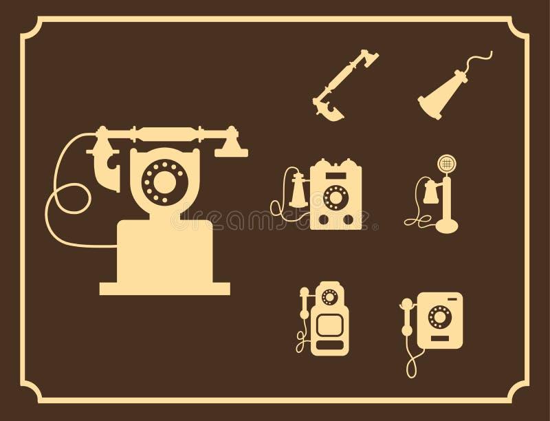 Wektorowy retro telefon ikony set, rocznik lekkie ikony ilustracji