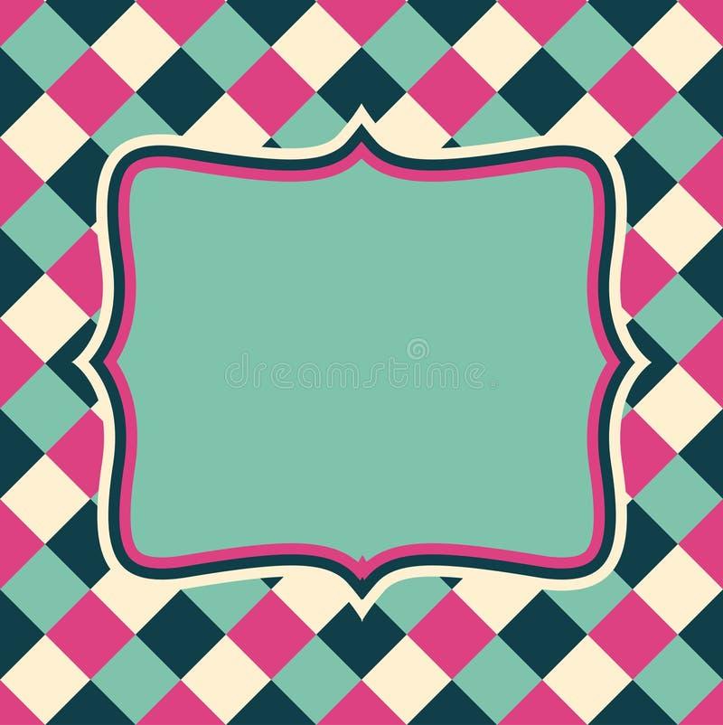 Wektorowy retro układ na abstrakcjonistycznym geometrycznym bezszwowym wzorze ilustracja wektor