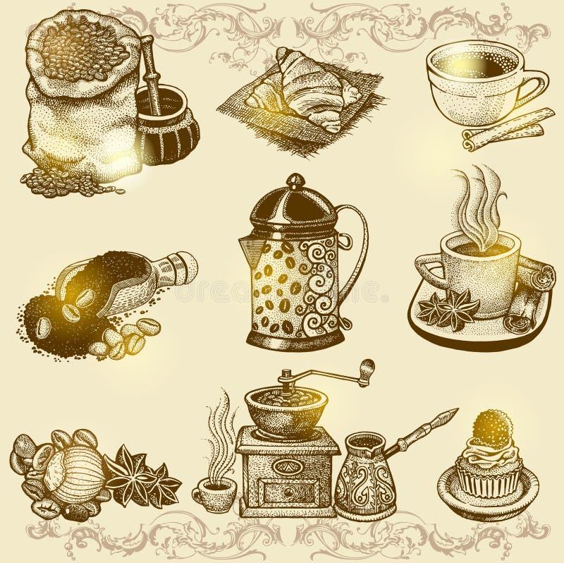 Wektorowy rocznik kawy set royalty ilustracja