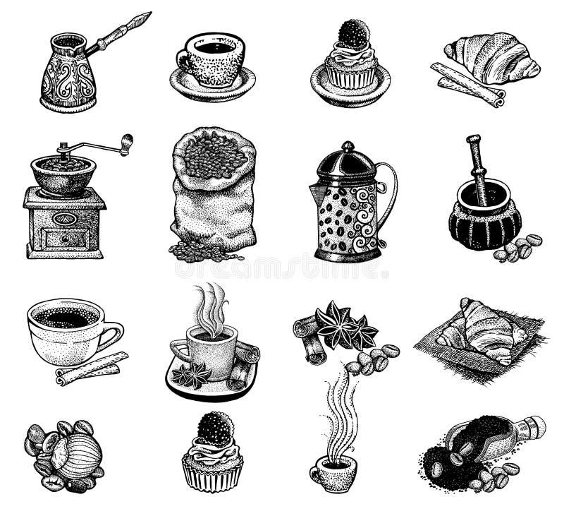 Wektorowy rocznik kawy set ilustracji