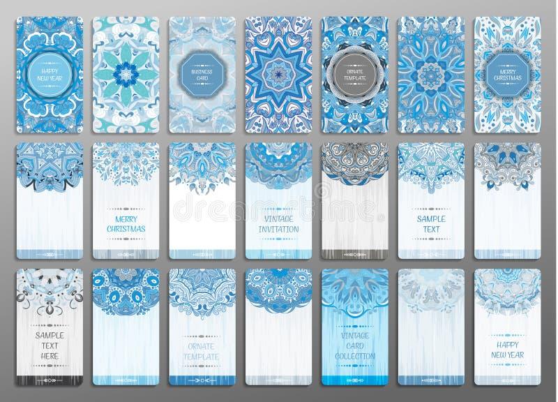 Wektorowy rocznik odwiedza karta set Kwiecisty mandala wzór, ornamenty i Orientalny projekta układ Wesoło Szczęśliwy i chistmas ilustracja wektor