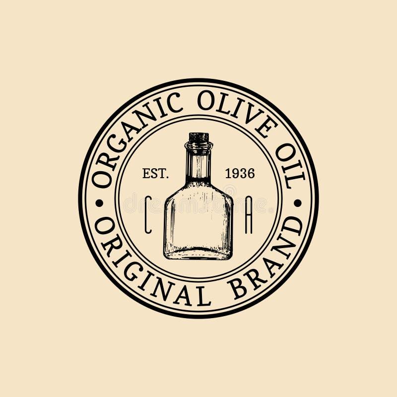 Wektorowy rocznik oliwki logo Retro emblemat z organicznie nafcianą butelką Ręka kreślący wiejski rolny produkcja znak ilustracja wektor