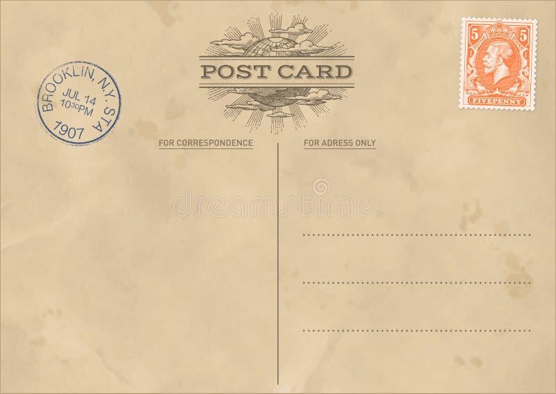 Wektorowy rocznik pocztówki szablon ilustracja wektor