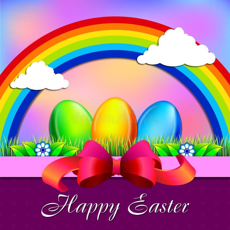 Wektorowy rocznik Wielkanocnych jajek tło z kolorową trawą i kwiatami royalty ilustracja