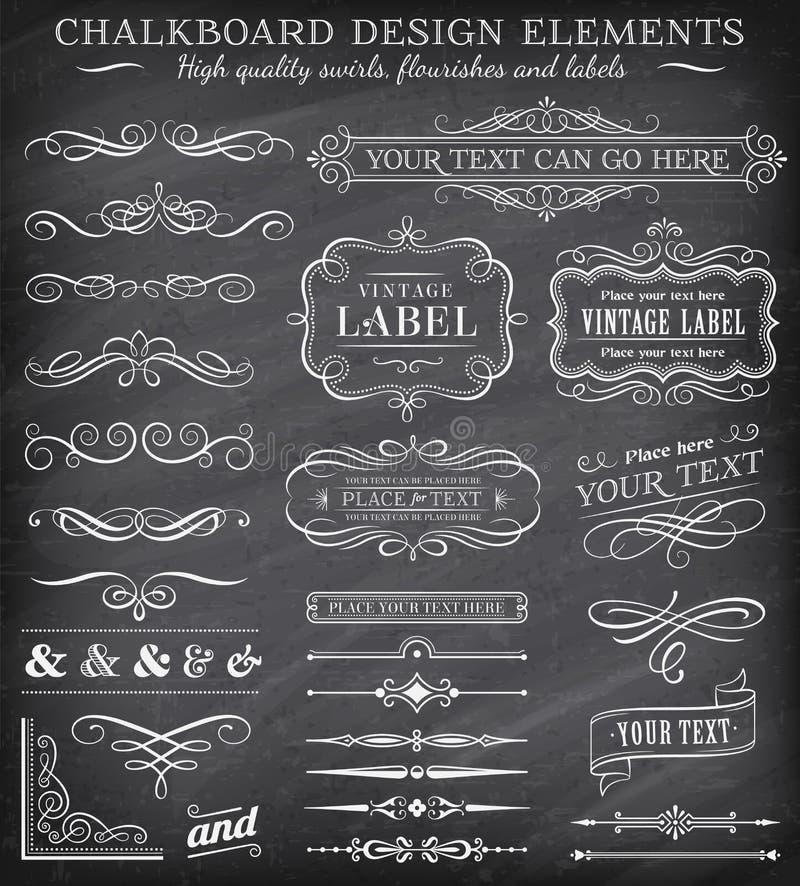 Wektorowy rocznika Chalkboard Przylepia etykietkę i ornamenty ilustracja wektor