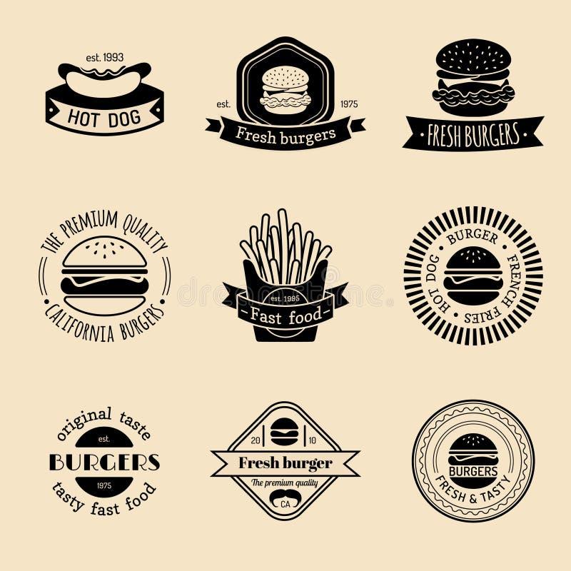 Wektorowy rocznika fasta food loga set Retro łasowanie podpisuje kolekcję Hamburger, hamburger, hot dog, frankfurter emblematy ilustracji
