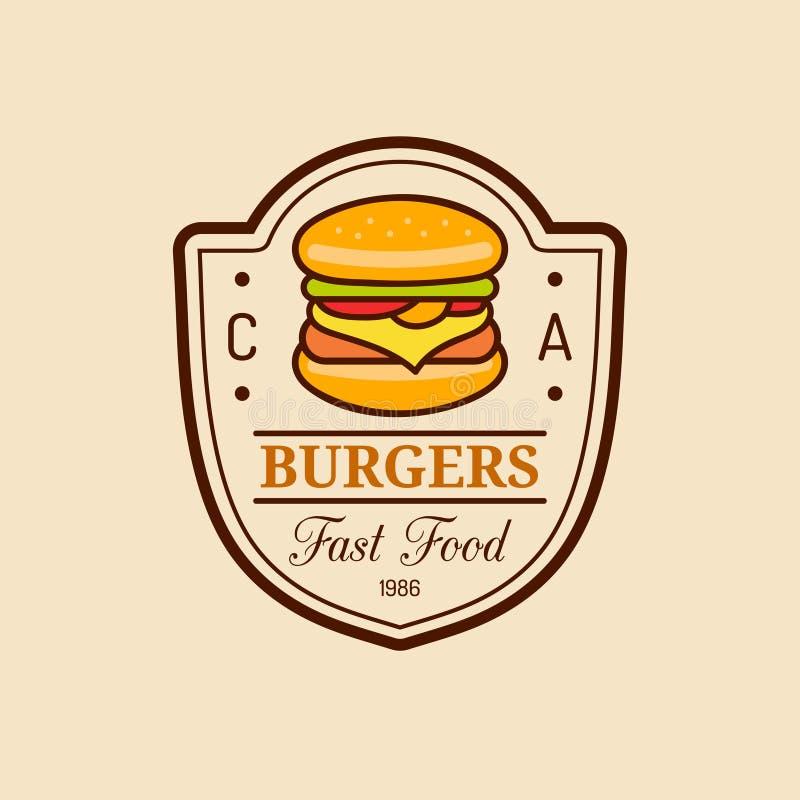 Wektorowy rocznika fasta food logo Burge znak Bistro ikona Knajpa emblemat dla ulicznej restauraci, kawiarnia, prętowy menu proje royalty ilustracja