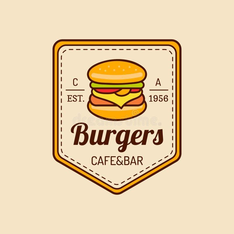 Wektorowy rocznika fasta food logo Burge znak Bistro ikona Knajpa emblemat dla ulicznej restauraci, kawiarnia, prętowy menu proje ilustracja wektor