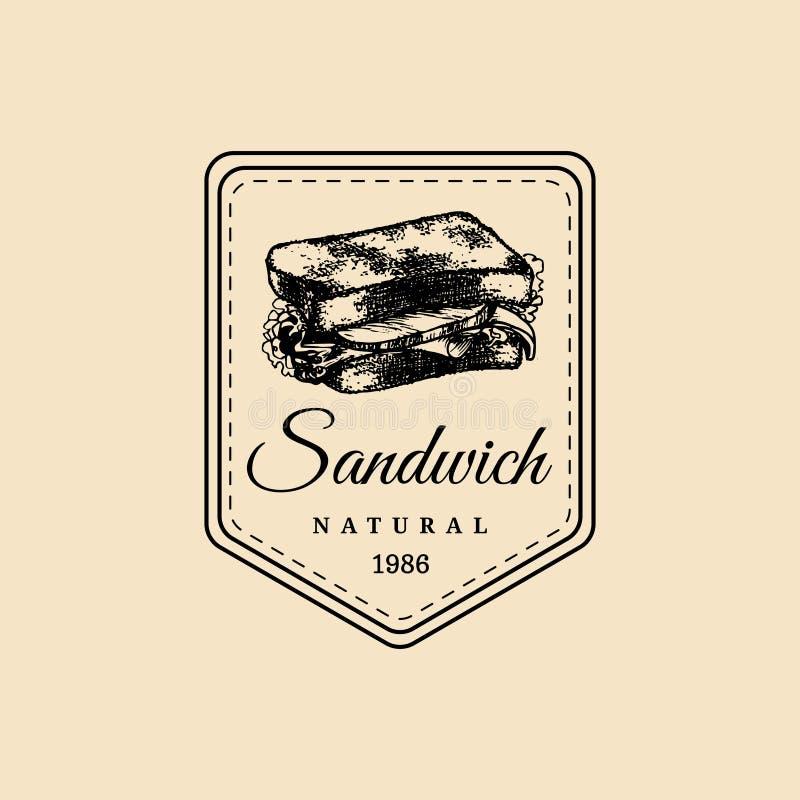 Wektorowy rocznika fasta food logo Modniś kanapki naturalna etykietka, znak Bistro ikona Uliczny knajpa emblemat ilustracja wektor