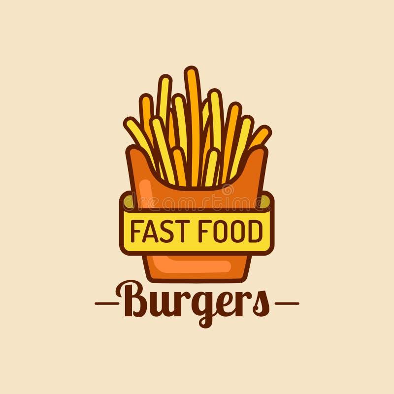 Wektorowy rocznika fasta food logo Retro dłoniak grul znak Bistro ikona Knajpa emblemat dla ulicznej restauraci, kawiarni, etc ilustracji