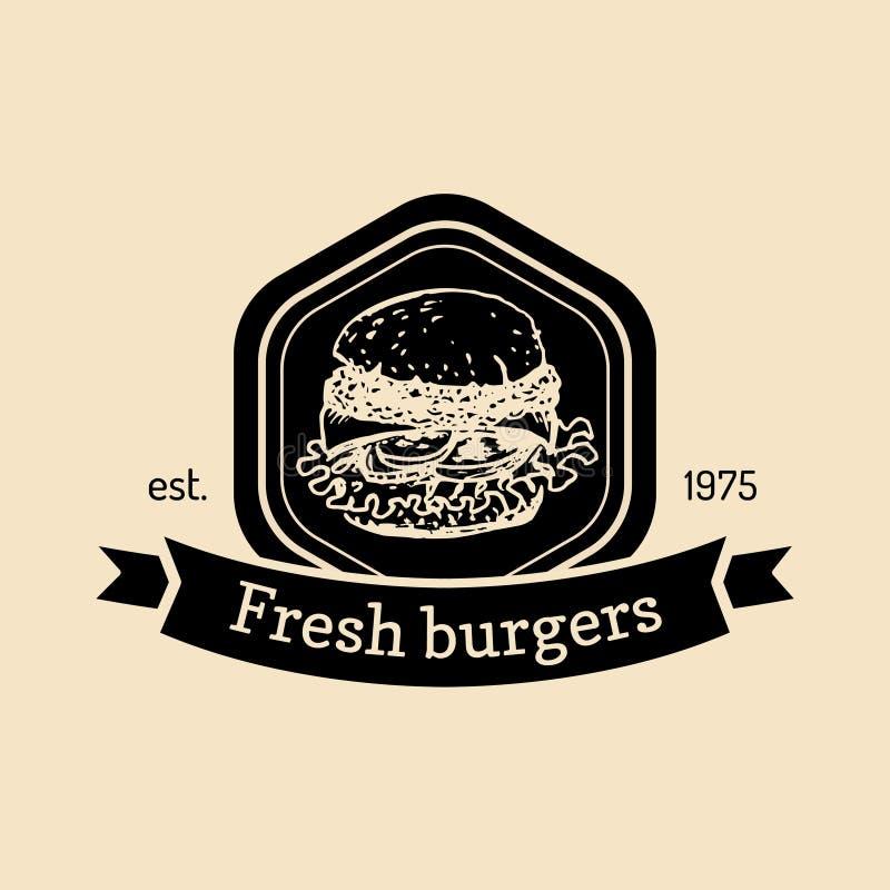 Wektorowy rocznika fasta food logo Retro ręka rysująca świeża hamburger etykietka Modniś kanapki znak Bistra, uliczny knajpa embl royalty ilustracja