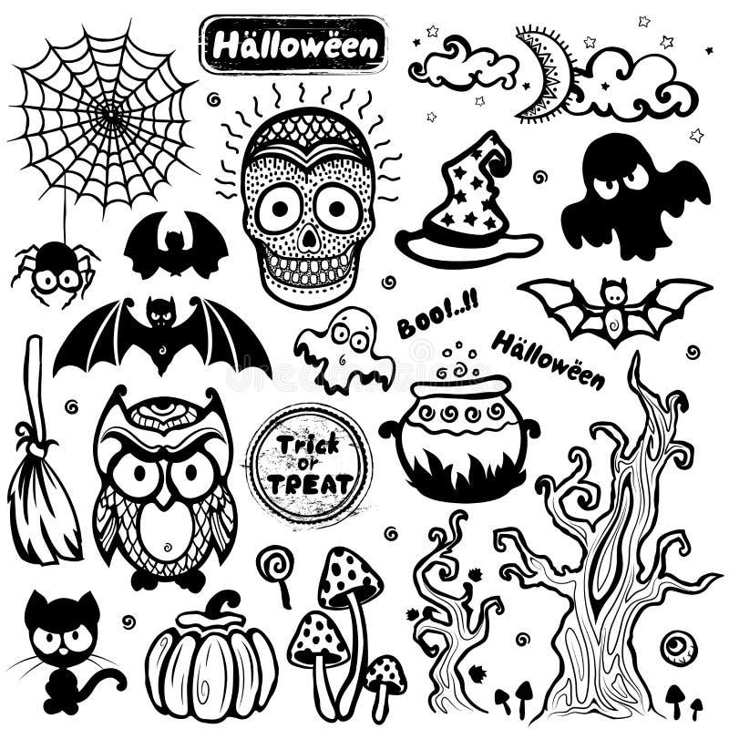 Wektorowy rocznika Halloweenowy ustawiający ikony royalty ilustracja