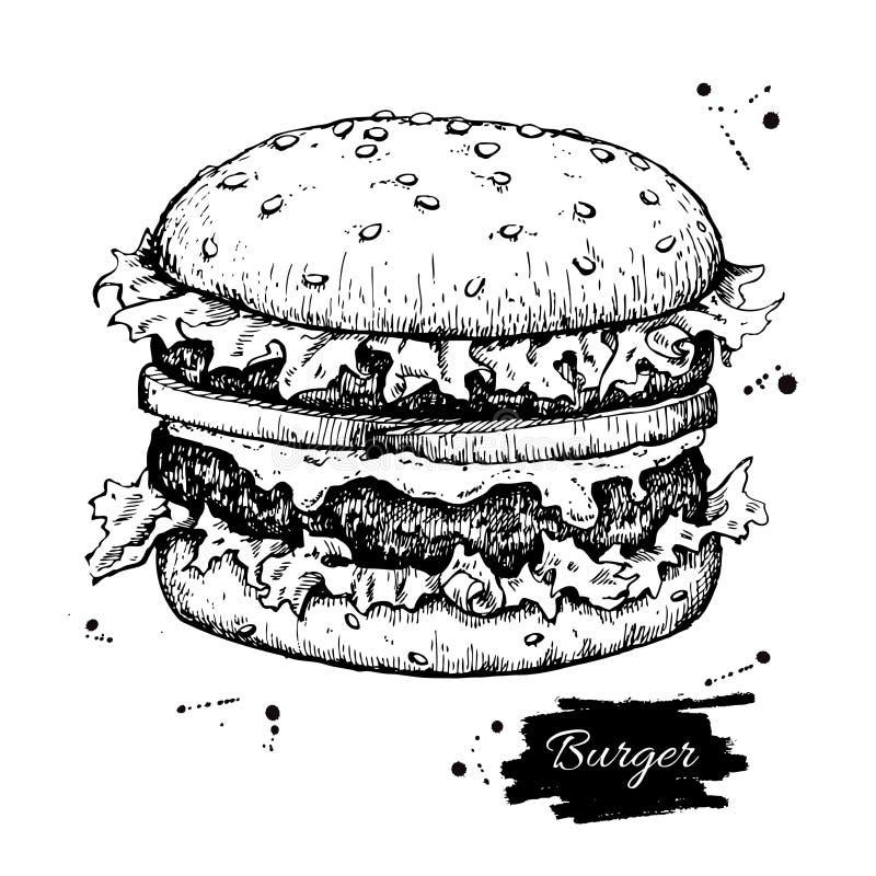 Wektorowy rocznika hamburgeru rysunek Ręka rysujący monochromatyczny fast food ja royalty ilustracja