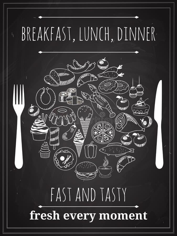 Wektorowy rocznika jedzenia plakat royalty ilustracja