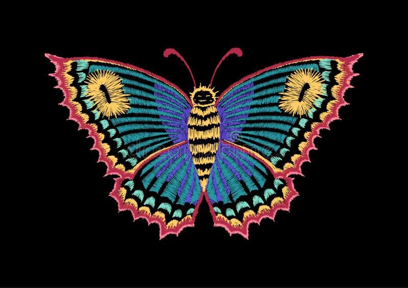 Wektorowy rocznika motyl, dekoracyjny element dla broderii, łaty i majchery, ilustracja wektor