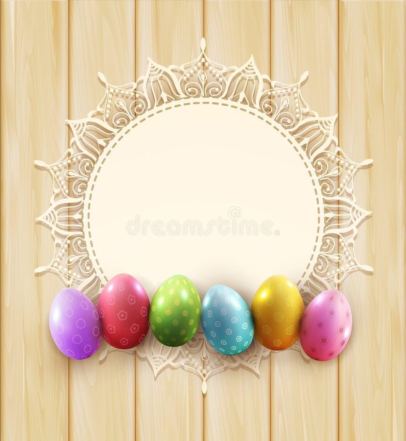 Wektorowy rocznika okrąg koronka i Easter jajka na drewnianym tle ilustracji
