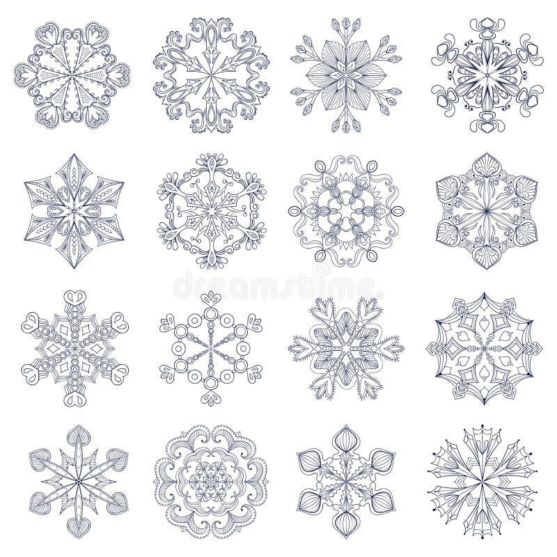 Wektorowy rocznika płatek śniegu ustawiający w zentangle stylu 16 oryginałów sno ilustracja wektor