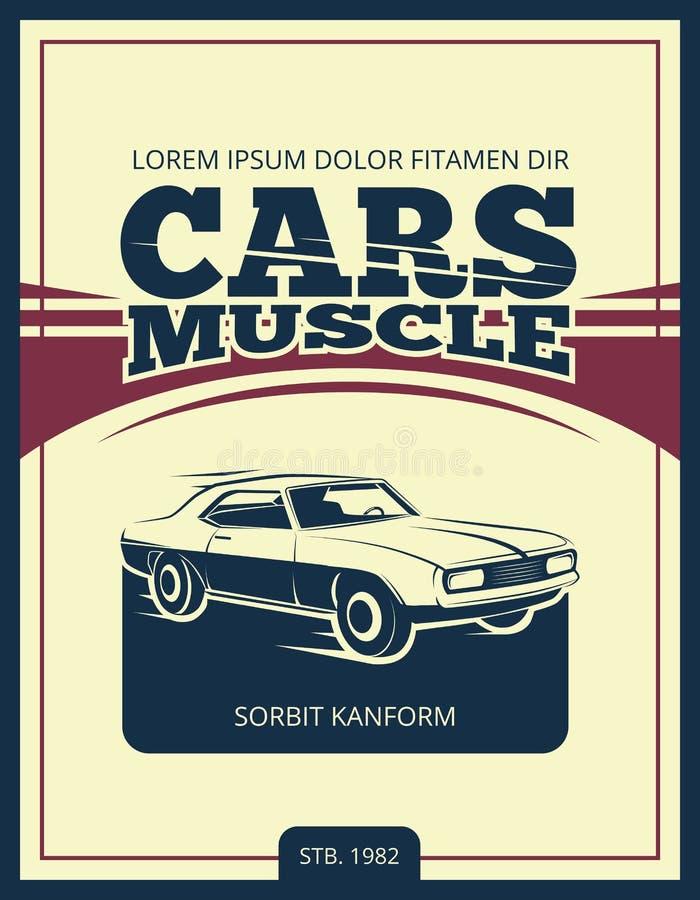 Wektorowy rocznika plakat z retro samochodem 70s ilustracji
