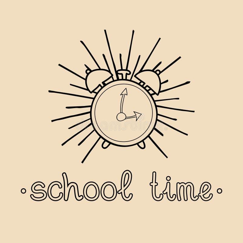 Wektorowy rocznika powitanie Z powrotem szkoły odznaka lub logo Retro znak z budzikiem Dziecko edukaci ikona ilustracja wektor