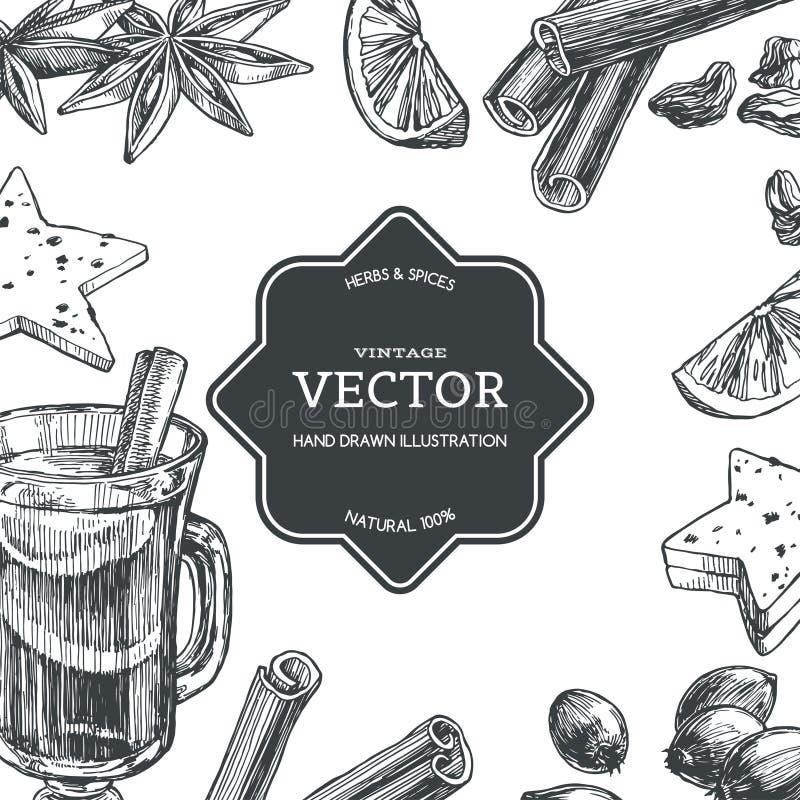 Wektorowy rocznika tło z rozmyślającym winem w filiżance i składnikach dla go odizolowywał na bielu Ręka rysująca tekstura z trad ilustracja wektor