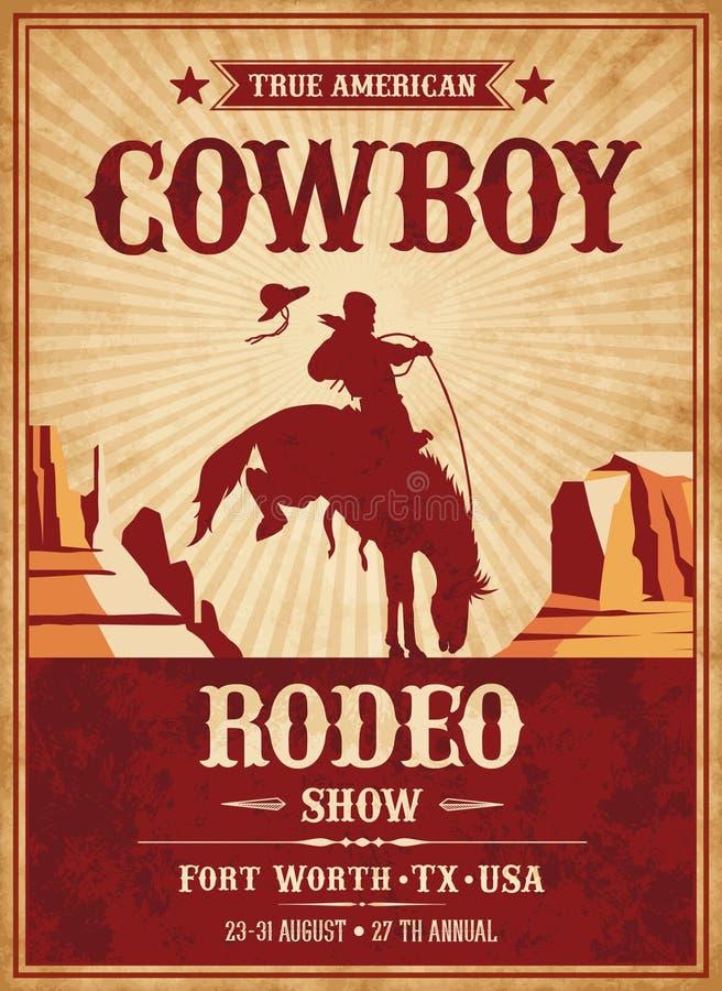 Wektorowy rodeo Zaprasza szablon royalty ilustracja