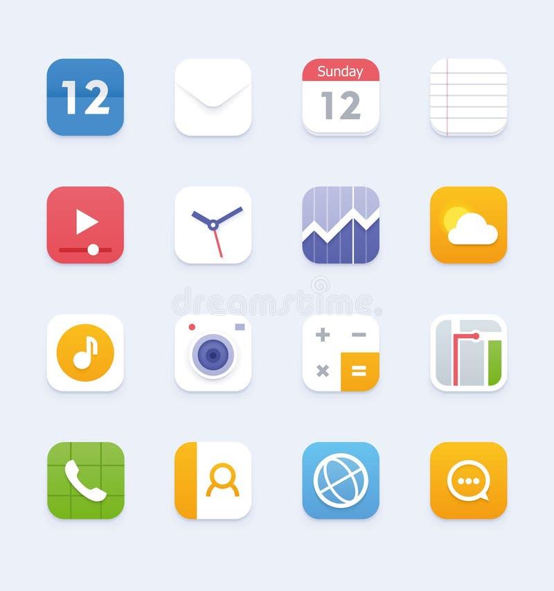Wektorowy rodzajowy smartphone lub pastylki interfejsu użytkownika ikony set ilustracja wektor