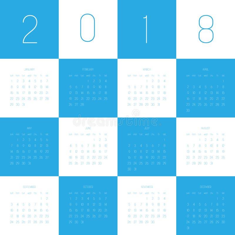 Wektorowy rok kalendarzowy 2018 Tydzień zaczyna od Niedziela Prosta płaska wektorowa ilustracja w błękitnym i białym ilustracja wektor