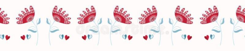 Wektorowy romantyczny czerwony ludowy kwiat z miłość sercami ilustracji