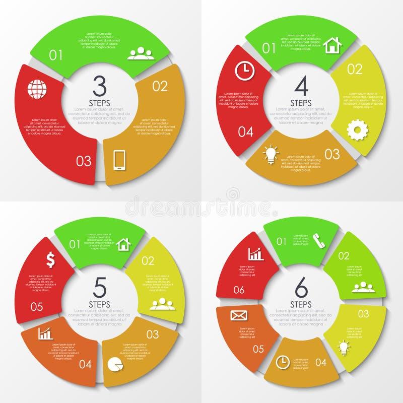 Wektorowy round infographics Szablon dla okręgu diagrama ilustracja wektor