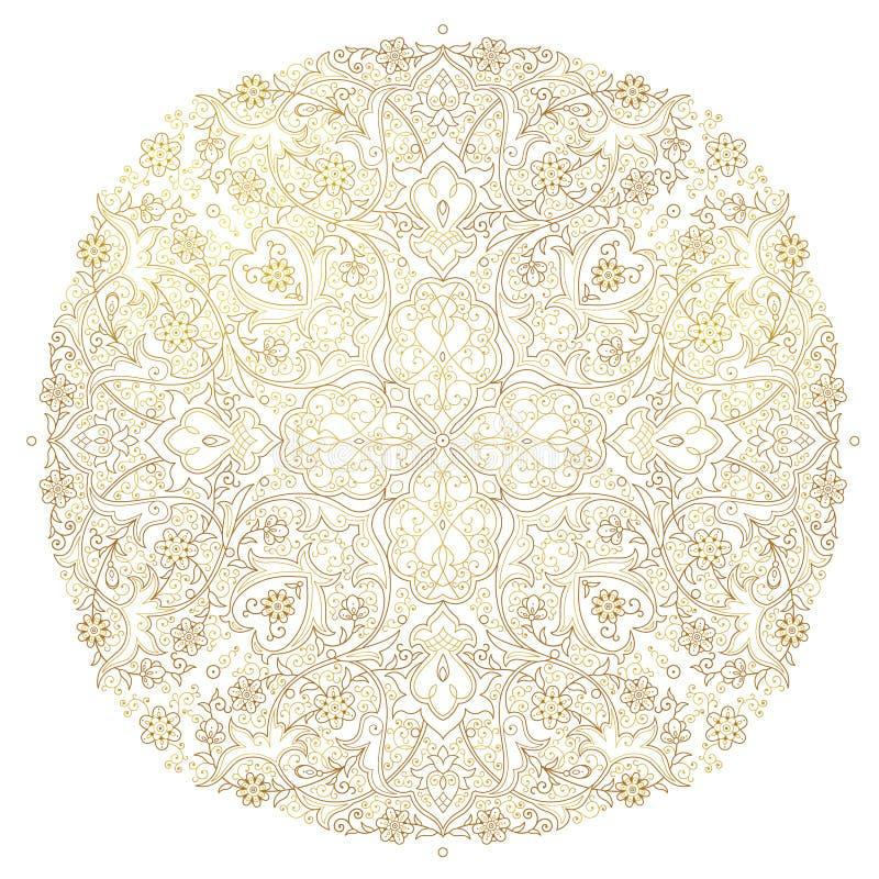 Wektorowy round ornamentu wystrój w Wschodnim stylu royalty ilustracja