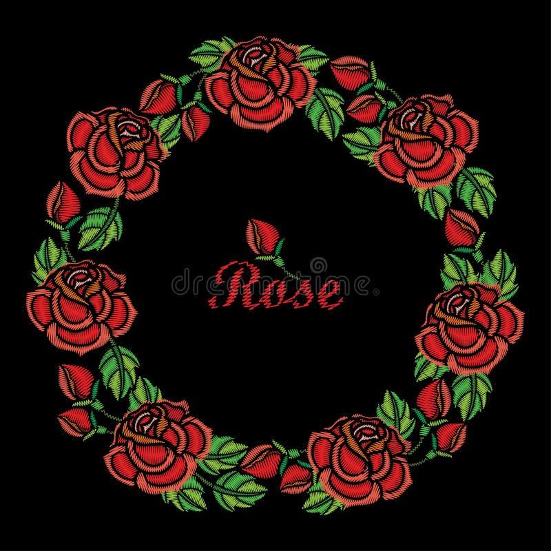 Wektorowy round skład hafciarski czerwieni róży kwiatu wianek, pączek i zieleń, opuszcza odosobniony na czarnym tle ilustracji