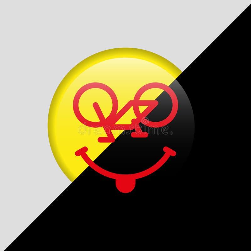 Wektorowy Rowerowy Emoji Roweru uśmiech, Emoticon lub Uśmiechnięta twarz, 3D Żółta odznaka i czerń Backround Kocham kolarstwa poj ilustracja wektor