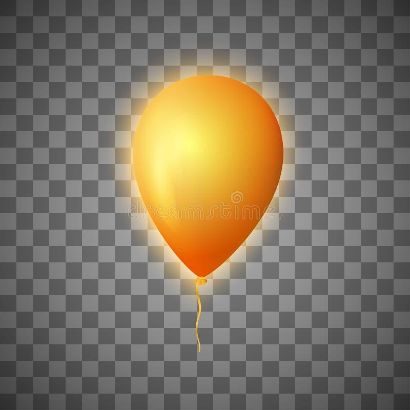 Wektorowy rozjarzony balon na przejrzystym ilustracja wektor
