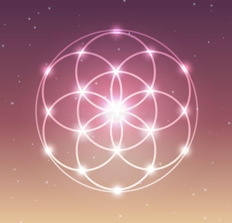 Wektorowy Rozjarzony kwiat życie symbolu ilustracja royalty ilustracja
