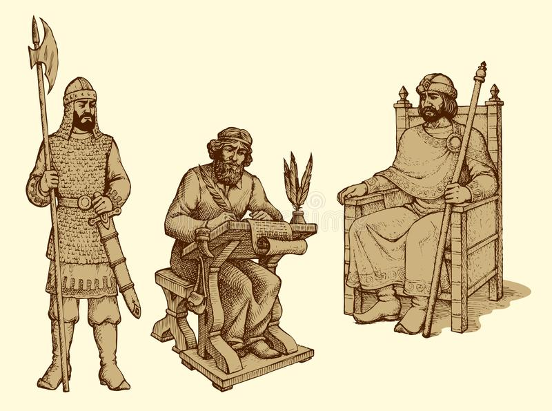 Wektorowy rysunek antyczny królewiątko ilustracja wektor