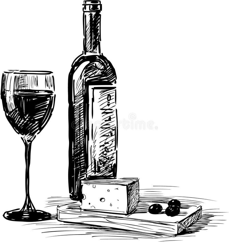 Gronowy wino i ser ilustracja wektor